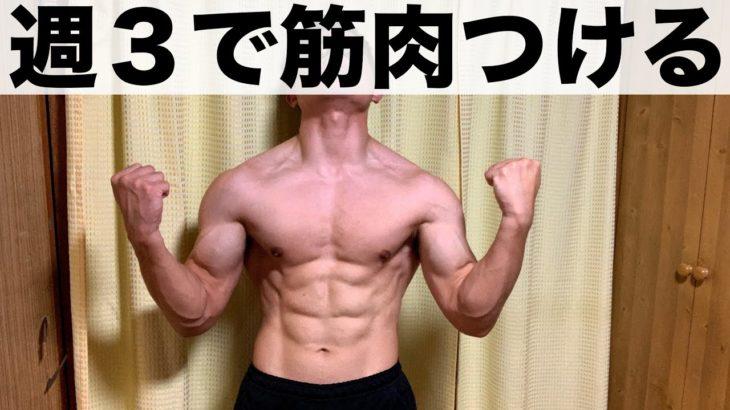 初心者が週3回の筋トレで筋肉をつける方法!【筋肥大効果抜群の全身法メニュー】
