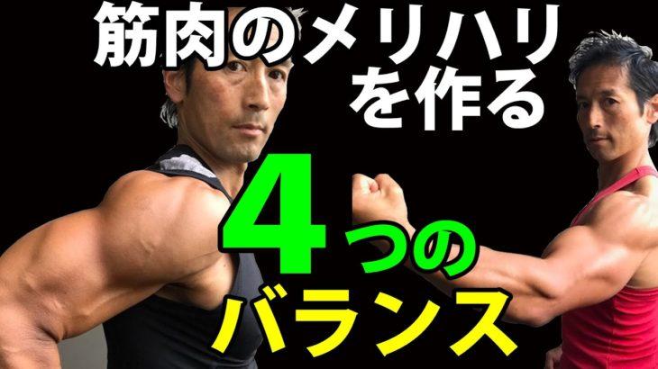 筋肉のメリハリを作る4つのバランス!ただデカいだけじゃなく、キレが重要!その方法 三角筋 上腕三頭筋 上腕二頭筋の筋トレ 自宅トレーニング