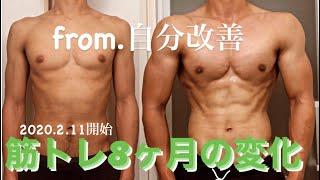筋トレ8ヶ月身体の変化【筋肉の変化】ビフォーアフター